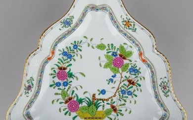 Herend Indian Basket Multicolor Triangle Dish #191/FD