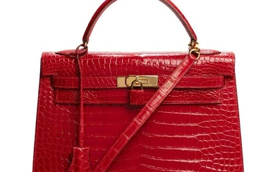 "Hermès - ULTRA RARE Kelly 32 sellier en Crocodile Porosus bandoulière ""rouge braise"", garniture en métal doré Crossbody bag"