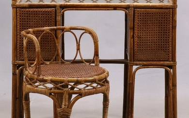 ITALIAN, WICKER AND CANE, VANITY TABLE & CHAIR