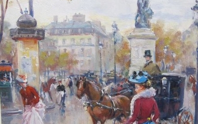JUAN SOLER. On a Paris Street, signed, oil on...