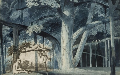 James Forbes, British 1749-1819- Banyan Tree with monkeys in a...