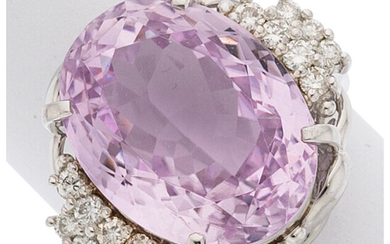 Kunzite, Diamond, Platinum Ring The ring features an oval-shaped...