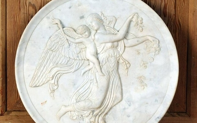 LARGE CARVED MARBLE PLAQUE WITH ANGEL AND CHERUB