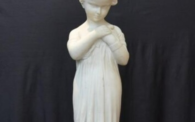 LARGE MARBLE STATUE OF BOY WITH BIRD