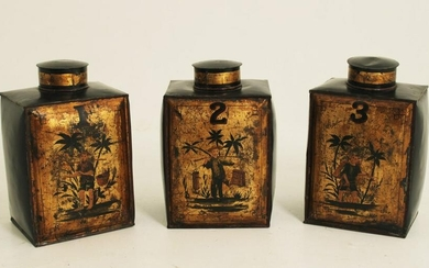 LOT OF 3 ORIENTAL BLACK LACQUERED TOLE TEA CANS