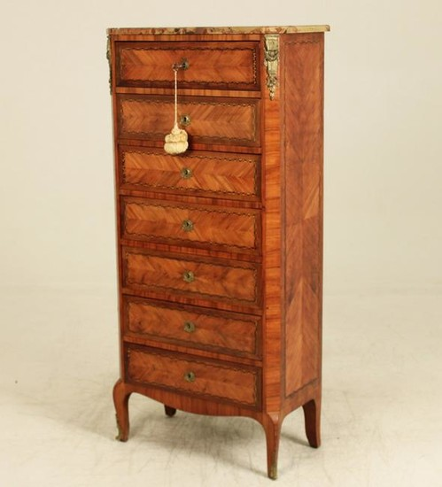 LOUIS XV STYLE INLAID MARBLE TOP SEMAINIER, 19TH C.