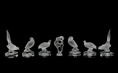 Lalique Set of Six Crystal Bird Form Card Holders and a