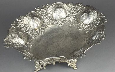 Large BOWL - metal, silver-plated, relief decoration.