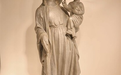 Large and beautiful antique statue of Madonna and Child - 73 cm - Aluminium - Early 20th century