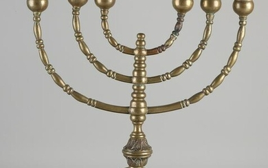 Large six-light brass candlestick with garlands.&#160