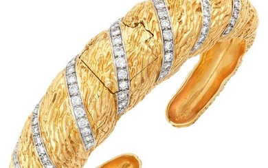 Laykin et Cie Gold, Platinum and Diamond Bombé Bangle-Watch