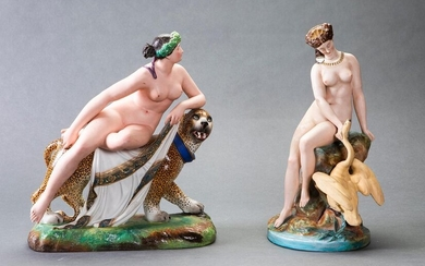 "Lot in polychrome biscuit formed by two figures: ""Ariadne and the panther"" and ""Leda and the swan"", is consolidated. With marks. Larger height: 36 cm. Exit: 180uros. (29.949 Ptas.)"