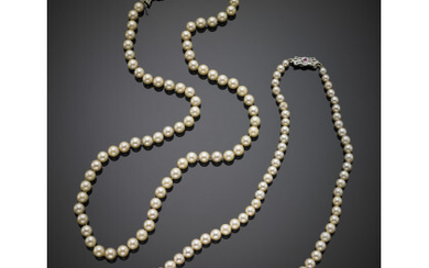 Lot of two cultured pearl necklaces of which one unstrung...