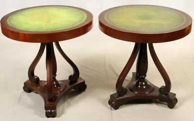 MAHOGANY ROUND TOOLED GREEN LEATHER TOP TABLES