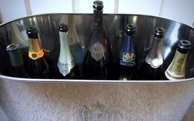 Magnificent Napoleon/Bollinger Extra large XXL Champagne/Wine cooler - up to 12 bottles - Silverplate