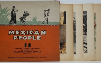 Mexican People 12 Litho Set Folio Pencil Signed