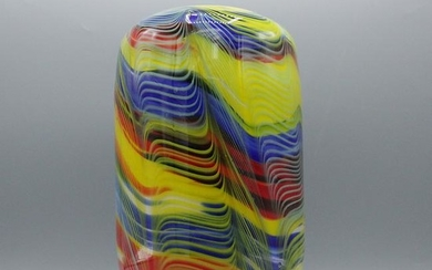 Mid-Century Italian Multi Color Glass Vase Internal Dec