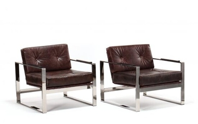 Milo Baughman (Am., 1923-2003), Pair of Leather Upholstered Club Chairs