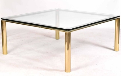 Modern Brass, Chrome, and Glass Low Table