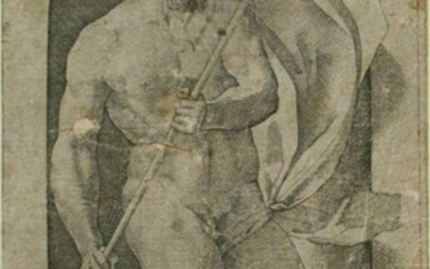 NEPTUNE 1526 engraving on watermarked paper Giovanni J Caraglio after Rosso Fiorentino FR3SH