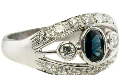 Natural Blue Sapphire Diamond Band Ring 18K White Gold