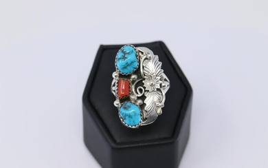 Navajo Handmade Coral And Turquoise Sterling Silver.