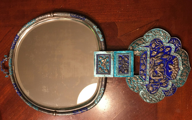 "OLD Chinese Imperial Silver Enameled mirror, Qing. 16 1/2"" long"