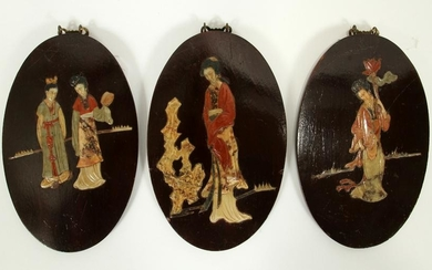 ORIENTAL LACQUER AND HARD STONE PLAQUES, 3 PCS