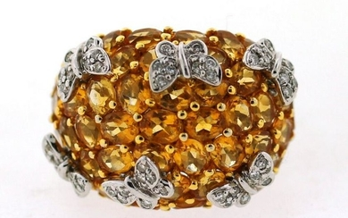 OUTSTANDING 14K WHITE GOLD CITRINE DIAMOND BUTTERFLY