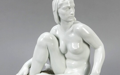 Observing nude, Meissen, after 1973, 2nd quality, designed by Robert Ullmann in 1939 (sign.), Seated female nude on a cloth, model no. 73348, (old number Q238), white, h. 32 cm, lit.: Bergmann, Meissen Figuren, volume I, p. 605