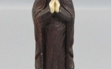 Old Carved Wood and Ivory Figurine in the Figure of Saint Mary