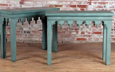 PAIR PAINTED CONSOLE TABLES IN THE GOTHIC STYLE