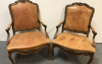 PAIR VINTAGE LEATHER UPHOLSTERED BERGERE CHAIRS
