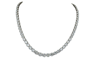 PLATINUM & DIAMOND GRADUATED RIVIERE NECKLACE
