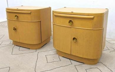 Pair Art Deco Style Side End Tables. Bow Front Nightst
