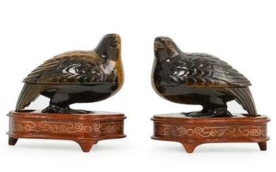 Pair Of Chinese Carved Tiger Eye Bird Boxes