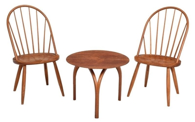 Pair Thomas Moser Side Chairs, Side Table