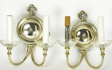 Pair Traditional Style Silver Tone Wall Sconces