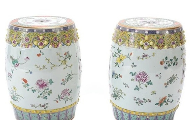 Pair of Chinese Famille Rose Garden Stools.