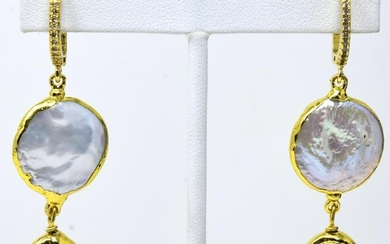 Pair of Gold Plated & Baroque Pearl Earrings