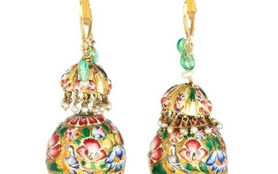 Pair of Persian Gold and Enameled Earrings