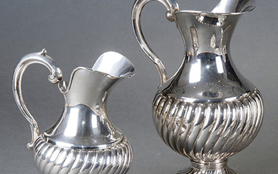 Pair of Spanish silver punch bowls. Different sizes....