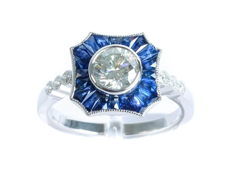 Platinum 0.82 CT Diamond & Sapphire Ladies Ring