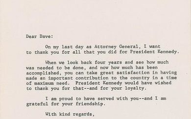 Robert F. Kennedy Typed Letter Signed to Dave Powers on