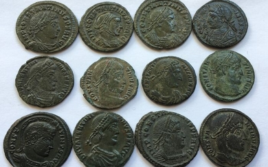 Roman Empire - Group of 12x Roman AE folles/nummi: struck during the Constantinian Era. Circa 300-340 A.D. - different emperors & different reverses - Copper