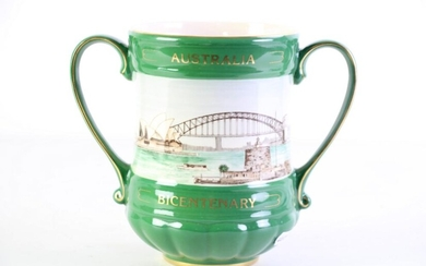 """Royal Doulton """"Australia - Past to Present"""" Bicentennial Double Handled Urn (H:16.5cm) limited ed no.349/350"""