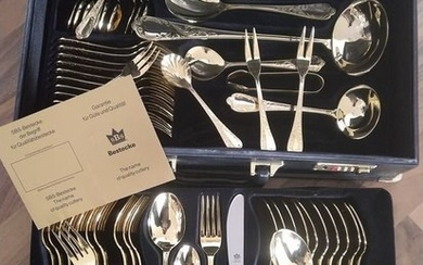 SBS Solingen - beautiful, 69-piece, unused luxury cutlery for 12 people - original price 1.781,85 € - Stainless steel 23/24 carat gold plated - with certificates - in original black case (KL)