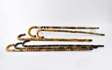 SIX MEXICAN OR CARIBBEAN PAINTED WOOD CANES