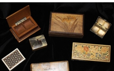 STAMP BOXES group of various wooden & metal stamp boxes with...