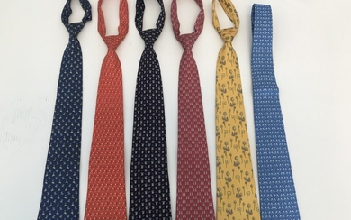 Salvatore Ferragamo: A collection comprising of six ties in different colors and prints. (6)